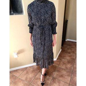 Seen Worn Kept Tie-Waist Long-Sleeve Midi Dress